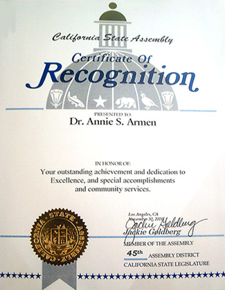 CA State Assembly Jackie Goldberg Recognizes Annie Armen | CommunicationsArtist.com