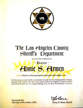Los Angeles County Sheriff Department, Lee Baca Recognizes Annie Armen | CommunicationsArtist.com
