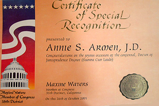 Member of Congress, Maxine Waters Recognizes Annie Armen | CommunicationsArtist.com