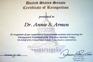 United States Senate, Dianne Feinstein Recognizes Annie Armen | CommunicationsArtist.com